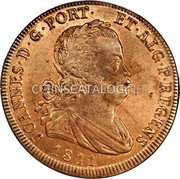 Portugal 40 Reis (Pataco) 1811 There are 5 additional edge varieties of 1811 date which are found listed in the pattern section KM# 345.1 Kingdom Milled coinage coin obverse