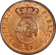 Portugal 40 Reis (Pataco) 1811 There are 5 additional edge varieties of 1811 date which are found listed in the pattern section KM# 345.1 Kingdom Milled coinage coin reverse
