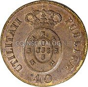 Portugal 40 Reis (Pataco) 1826 KM# 373 Kingdom Milled coinage coin reverse