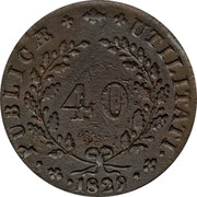 Portugal 40 Reis (Pataco) 1829 KM# 380 Kingdom Milled coinage coin reverse
