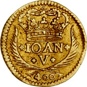 Portugal 400 Reis 1721 KM# 201 Kingdom Milled coinage JOAN V 400 coin obverse