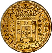 Portugal 4000 Reis 1714 KM# 195 Kingdom Milled coinage coin obverse