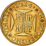 Portugal 4000 Reis 1714 KM# 195 Kingdom Milled coinage coin reverse