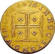 Portugal 4000 Reis Pedro Prince Regent 1678 KM# 117 INHO C SIGNO VINC ES coin reverse