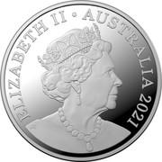 Australia 5 Cents (Wooden Echidna) ELIZABETH II AUSTRALIA 2021 JC coin obverse
