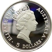 Australia 5 Dollars Kookaburra 1991 P ELIZABETH II AUSTRALIA 5 DOLLARS coin obverse