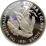 Australia 5 Dollars Kookaburra 1991 P THE AUSTRALIAN KOOKABURRA 1 OZ 999 SILVER 1991 coin reverse