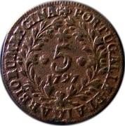 Portugal 5 Reis 1797 KM# 9 Prortuguese Administration Provincial coinage PORTUGALIÆ ET ALGARBIORUM REGINA 5 1797 coin reverse