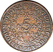 Portugal 5 Reis 1843 KM# 10 Portuguese Administration Provincial coinage coin reverse
