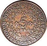 Portugal 5 Reis 1843 KM# 10 Portuguese Administration Provincial coinage 5 1843 PORTUGALIAE ET ALGARBIORUM REGINA coin reverse