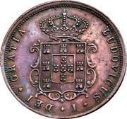 Portugal 5 Reis 1875 KM# 513 Kingdom Decimal coinage LUDOVICUS I DEI GRATIA coin obverse