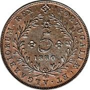 Portugal 5 Reis 1880 KM# 13 Portuguese Administration Provincial coinage REX PORTUGALIÆ ET ALGARBIORUM 5 1880 coin reverse