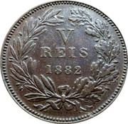 Portugal 5 Reis 1882 KM# 525 Kingdom Decimal coinage coin reverse