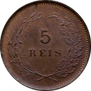 Portugal 5 Reis 1910 KM# 555 Kingdom Decimal coinage coin reverse