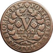 Portugal 5 Reis (V) 1752 KM# 242.1 Kingdom Milled coinage PORTUGALLÆ ET ALGARBIORUM REX V 1752 coin reverse
