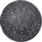 Portugal 5 Reis (V) 1791 KM# 305 Kingdom Milled coinage PORTUGALIÆ • ET • ALGARBIORUM • REGINA coin reverse