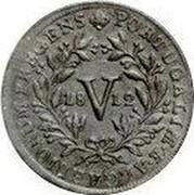 Portugal 5 Reis (V) 1812 KM# 347 Kingdom Milled coinage PORTUGALIÆ V REGENS coin obverse