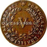 Portugal 5 Reis (V) 1824 KM# 355 Kingdom Milled coinage coin reverse