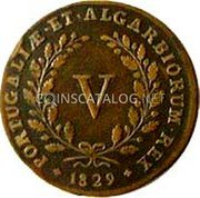 Portugal 5 Reis (V) 1829 KM# 389 Kingdom Milled coinage coin reverse