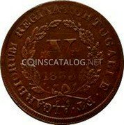 Portugal 5 Reis (V) 1833 KM# 398 Kingdom Milled coinage coin reverse