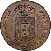 Portugal 5 Reis (V) 1836 KM# 408 Kingdom Milled coinage MARIA II DEI GRATIA coin obverse