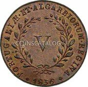 Portugal 5 Reis (V) 1836 KM# 408 Kingdom Milled coinage coin reverse