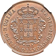 Portugal 5 Reis (V Reis) 1850 KM# 1 Prortuguese colony Early coinage MARIA II D G PORTUG ET ALG REGINA coin obverse