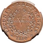 Portugal 5 Reis (V Reis) 1850 KM# 1 Prortuguese colony Early coinage coin reverse