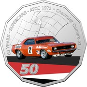Australia 50 Cents (60 Years Supercars - Chevrolet Camaro ZL-1) 60 YEARS - SUPERCARS - ATCC 1971 CHEVROLET CAMARO ZL-1 CASTROL 7 TOTAL CASTROL 50 coin reverse