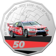 Australia 50 Cents (60 Years Supercars - Ford BF Falcon) 60 YEARS SUPERCARS ATCC 2008 FORD BF FALCON NEW FALCON VODAPHONE FORD NOKIA 50 coin reverse