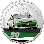 Australia 50 Cents (60 Years Supercars - Ford XE Falcon) 60 YEARS SUPERCARS ATCC 1984 FORD XE FALCON DICK JOHNSON XMO MOTORCRAFT XMO TAA PALMER TUBE MILLS 50 coin reverse