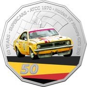 Australia 50 Cents (60 Years Supercars - Holden HT Monaro) 60 YEARS - SUPERCARS - ATCC 1970 HOLDEN HT MONARO GTS 350 SHELL 1 50 coin reverse