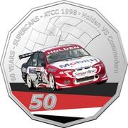 Australia 50 Cents (60 Years Supercars - Holden VS Commodore) 60 YEARS - SUPERCARS - ATCC 1998 HOLDEN VS COMMODORE HOLDEN MOBIL SMART BUY 50 coin reverse