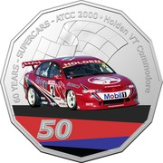 Australia 50 Cents (60 Years Supercars - Holden VT Commodore) 60 YEARS SUPERCARS ATCC 2000 HOLDEN VT COMMODORE HOLDEN MOBIL 1 50 coin reverse