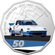 Australia 50 Cents (60 Years Supercars - Mazda RX-7) 60 YEARS SUPERCARS ATCC 1983 MAZDA RX-7 43 INTERNATIONAL 50 coin reverse