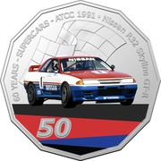 Australia 50 Cents (60 Years Supercars - Nissan R32 Skyline GT-R) 60 YEARS - SUPERCARS - ATCC 1991 NISSAN R32 SKYLINE GT-R 50 coin reverse