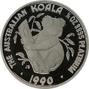 Australia 50 Dollars (Koala) THE AUSTRALIAN KOALA 1/2 OZ. 9995 PLATINUM JB P 1990 coin reverse