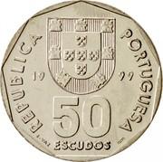 Portugal 50 Escudos 1999 KM# 636 Republic REPUBLICA PORTUGUESA 19 88 50 ESCUDOS E. VAZ INCM coin obverse