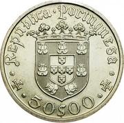 Portugal 50 Escudos 500th Birth Annivevsary of Pedro Alvares Cabral 1968 KM# 593 50$00 REPUBLICA PORTUGUESA coin obverse