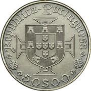 Portugal 50 Escudos 500th Birth Annivevsary of Vasco da Gama 1969 KM# 598 50$00 REPUBLICA PORTUGUESA coin obverse