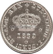 Portugal 50 Reis 1880 KM# 506.2 Kingdom Decimal coinage coin obverse