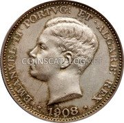 Portugal 500 Reis 1908 KM# 547 Kingdom Decimal coinage coin obverse