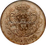 Portugal 500 Reis 1908 KM# 547 Kingdom Decimal coinage coin reverse