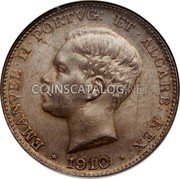 Portugal 500 Reis 1910 KM# 557 Kingdom Decimal coinage coin obverse