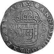 Portugal 500 Reis ND KM# 438.1 Kingdom Countermarked coinage Type IV coin obverse