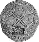 Portugal 500 Reis ND KM# 438.1 Kingdom Countermarked coinage Type IV coin reverse