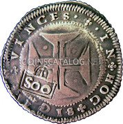 Portugal 500 Reis ND KM# 437.1 Kingdom Countermarked coinage Type III coin reverse