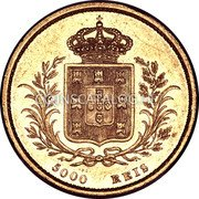 Portugal 5000 Reis 1862 KM# 508 Kingdom Decimal coinage coin reverse