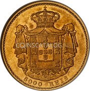 Portugal 5000 Reis 1889 KM# 516 Kingdom Decimal coinage coin reverse