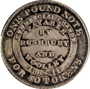 UK 6 Pence Staffordshire - Bilston / Rushbury & Woolley 1811  ONE POUND NOTE FOR 40 TOKENS COMMERCIAL CHANGE 1811 PAYABLE BY RUSHBURY AND WOOLLEY coin reverse